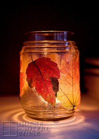 Decorating with Autumn Leaves; Door Garland and Candle Jars