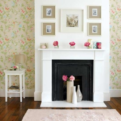 Living room with summery fireplace | Living room furniture | Decorating ideas | housetohome.co.uk