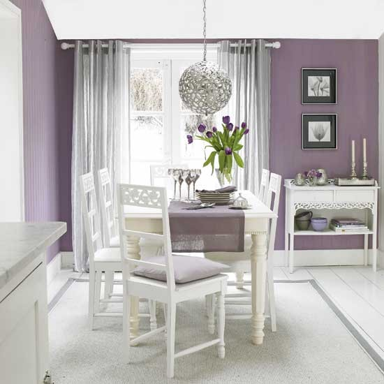 Plum and silver dining room