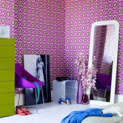 Patterned wallpaper   Teenage girls bedroom ideas   housetohome.co.uk