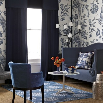 Blue living room with bold wallpaper | Living room designs | Wallpapers | housetohome.co.uk