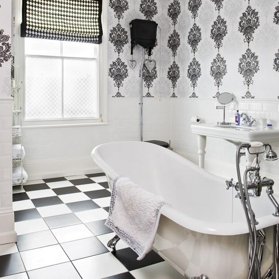 monochrome bathroom modern bathrooms bathroom wallpaper image statement bathroom wallpaper bathroom tile ideas housetohome uk