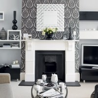 Living room with monochrome wallpaper