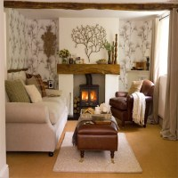 Living room with woodland wallpaper | Living room ...