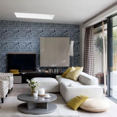Opt for graphic wallpaper | Family living room design ideas | housetohome.co.uk