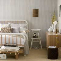 Neutral bedroom with monochrome wallpaper | Bedroom ...