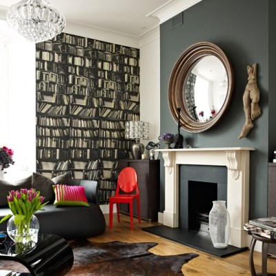 Dramatic living room with library-themed wallpaper   Modern wallpaper ideas - 10 of the best ...