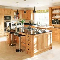 Sleek black and wood kitchen