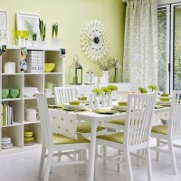 White And Lime Green Dining Room   Joy Studio Design ...