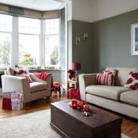 Grey and red festive living room   housetohome.co.uk