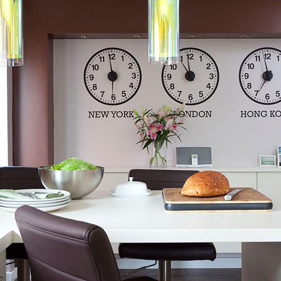 clock wall stickers eclectic kitchen diner paint stripes solid colour