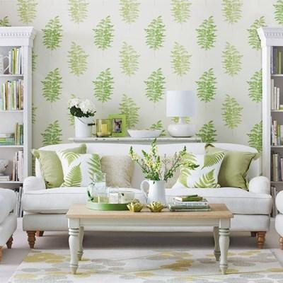 Living room with green fern design wallpaper | Living room decorating | housetohome.co.uk