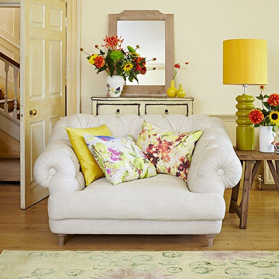 Pale Yellow Living Room With Floral Cushions Living Room