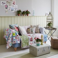 Country living room with patchwork throw | Living room ...