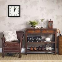 Neutral hallway with dark wood furniture | Hallway ...