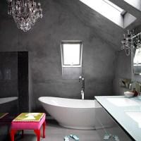 Modern bathroom with concrete finish walls | Decorating ...