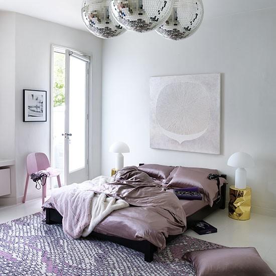 Glamorous bedroom with glitter balls