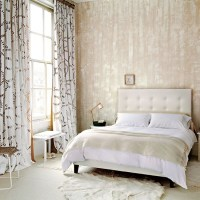 Neutral bedroom with textured wallpaper | Neutral bedroom ...