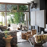 Jungle-themed living room | Open plan living room ideas to ...