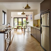 Galley kitchen with parquet flooring | Be inspired by a ...
