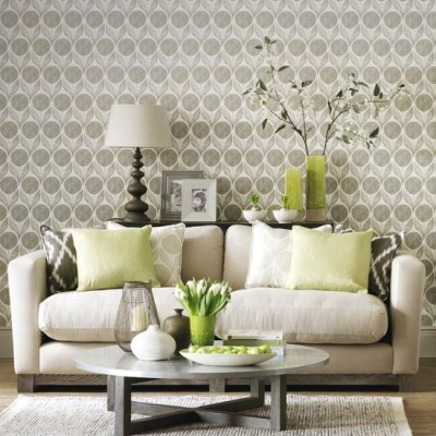 Statement wallpaper in a neutral living room | Simple living room designs | housetohome.co.uk
