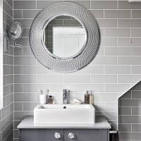 Modern grey bathroom with round mirrors | housetohome.co.uk