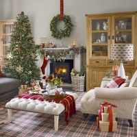 Red and white Christmas living room with tartan carpet ...