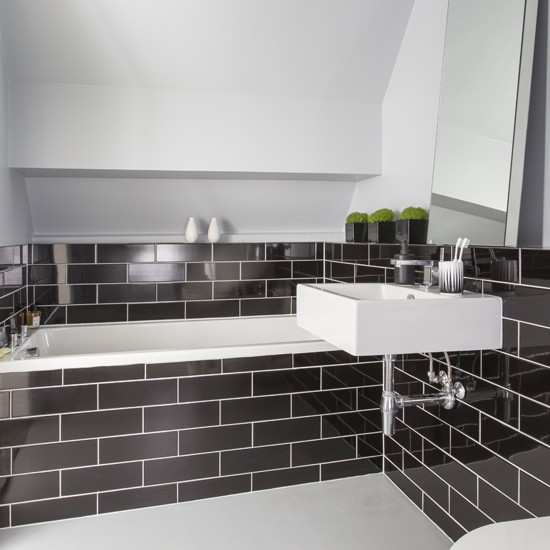 Black Metro Tile Bathroom Black And White Bathroom Designs Housetohome Co Uk
