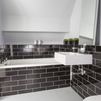 Black metro tile bathroom   Black and white bathroom ...