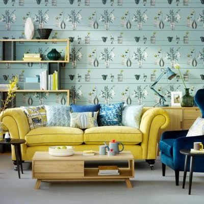 Duck egg living room with feature wallpaper | Duck egg living room ideas | housetohome.co.uk