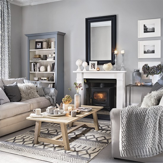 Grey living room with plenty of pattern and texture