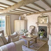 Regency country cottage living room with exposed beams ...