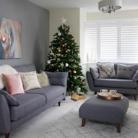Pale grey living room with winter white textures ...