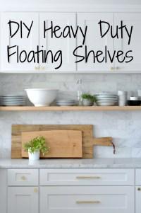 DIY: Heavy Duty, Bracket-Free Floating Kitchen Shelves ...