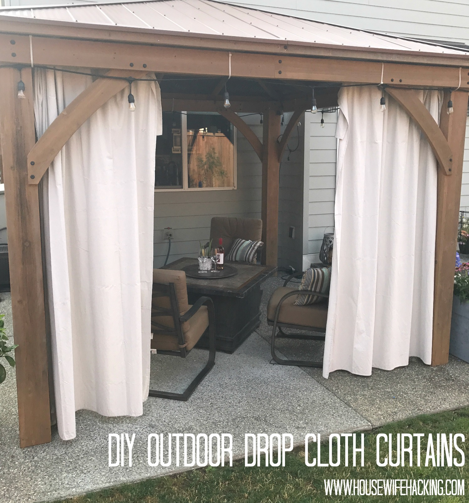 Drop Cloth Outdoor Curtains Housewife Hacking