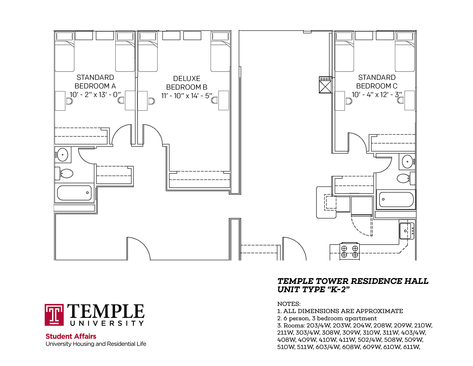 3 Bedroom Apartment Floorplan Temple Towers University Housing And Residential Life