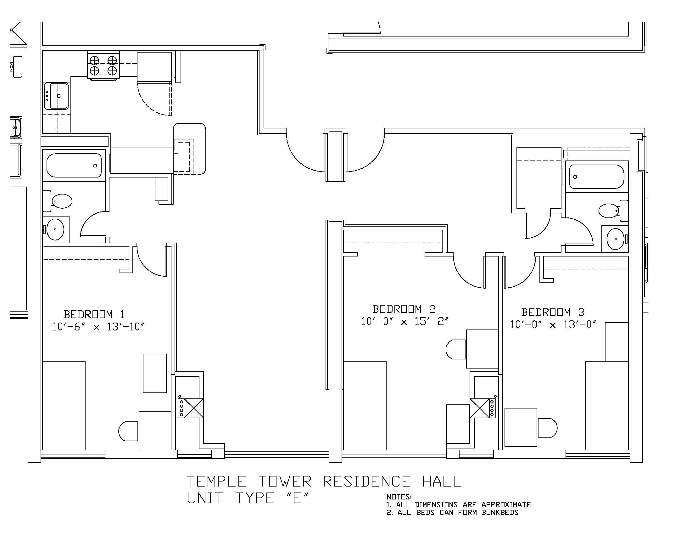 Housing Floor Plans Layout Temple Towers University Housing And Residential Life