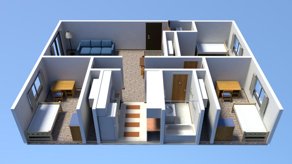 3 Bedroom Apartment Floorplan Three Bedroom Floor Plans Housing Meal Plan And I D Card