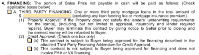 What is a financing contingency in a home purchase contract?