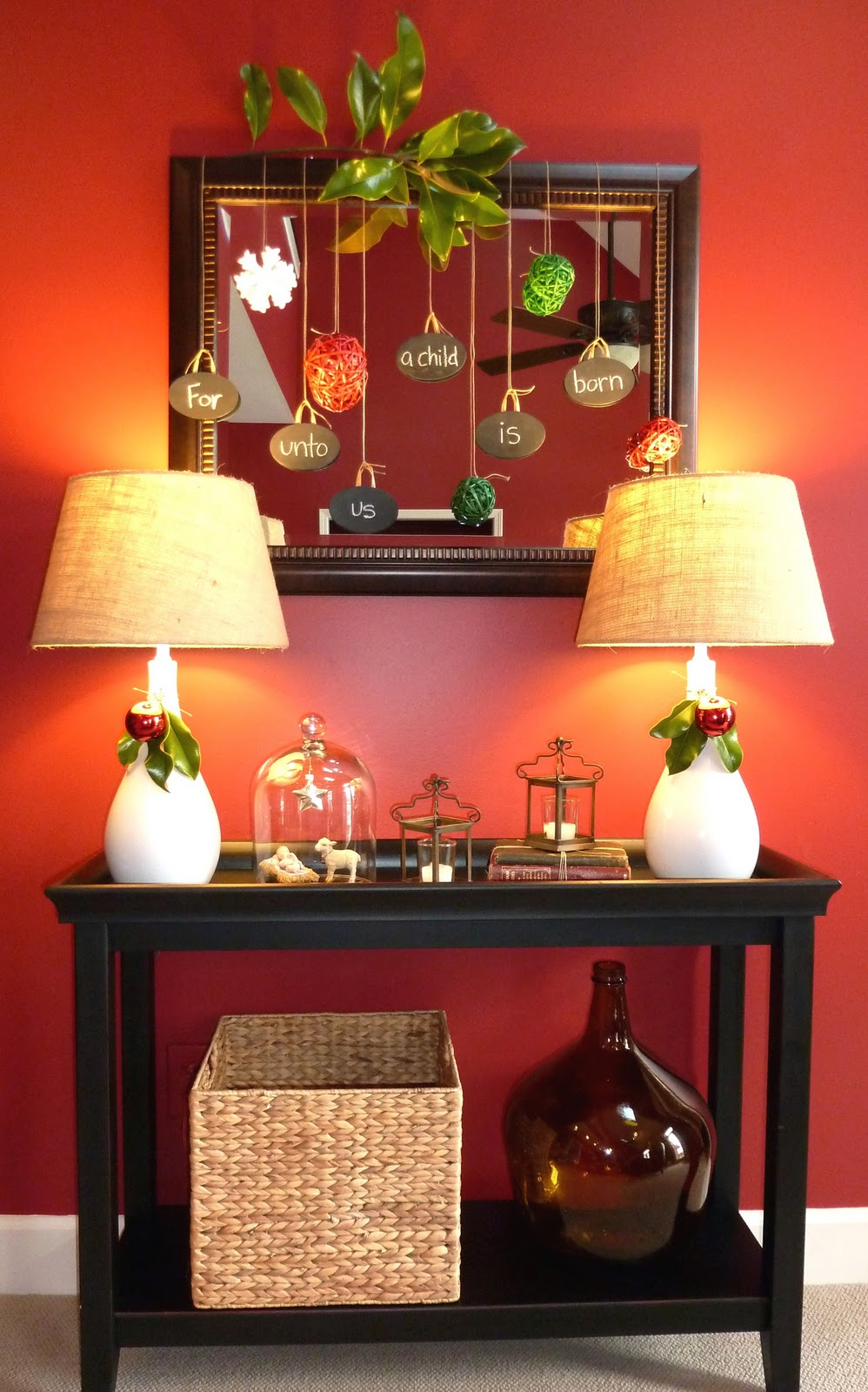 Fun And Traditional Christmas Hallway Decor Using A Pier 1 Console Table And Sea
