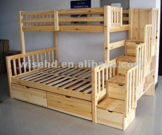 Modern Children Bed Living room Bunk Bed Solid Wood