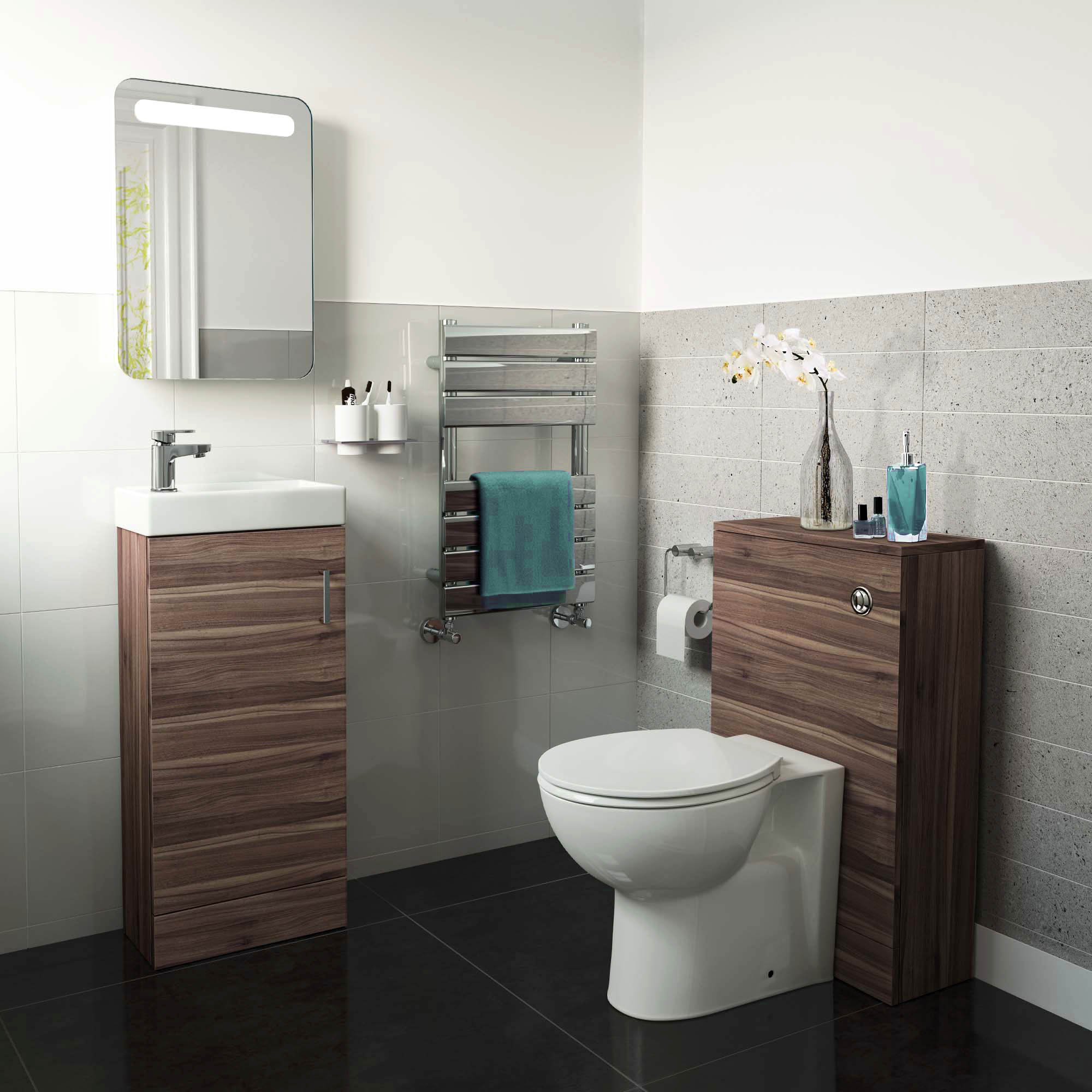 Complete Vanity Units Complete Walnut Cloakroom Bathroom Suite With Btw Toilet