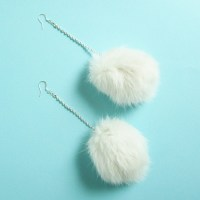 Fur Pom Pom Earrings