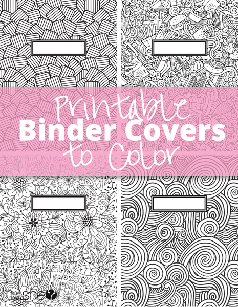 Printable Binder Covers to Color Free Download for Back-to-School