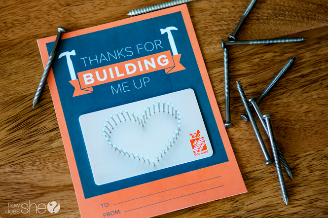 Creative gift card ideas for teachers with free printable How - home depot gift ideas