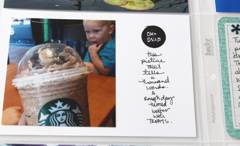 Week 34 detail with stamp and journaling| Project Life 2014