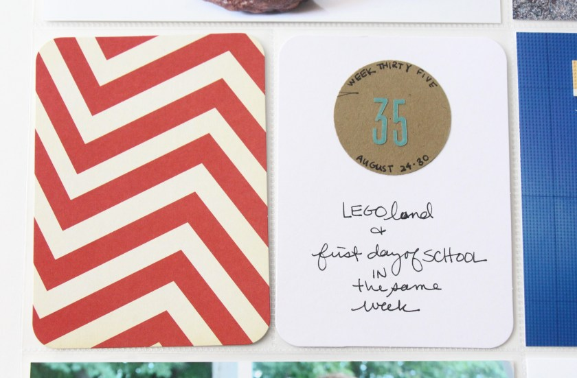 Week 35 - a circle cut from kraft paper Max scribbled on | Project Life 2014