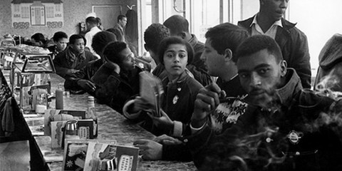 Civil Rights Activist Judy Richardson (center) at a SNCC sit-in, Atlanta, Ga., 1963. Courtesy photo,  UMass Lowell.