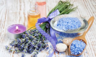 wellness products -  candle, lavender and bath-salt