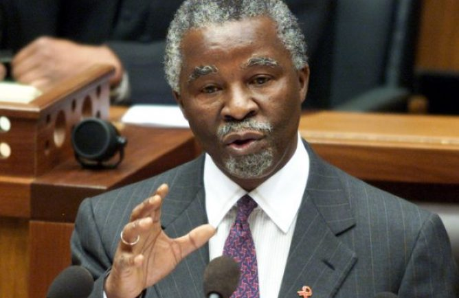 Former South African President Thabo Mbeki answers questions in Parliament in Cape Town, September 20, 2000. While refusing to recognise the HIV virus as the sole cause of AIDS, Mbeki said that the linkage between them formed the basis of his governments AIDS policy. Mbeki has come under increasing criticism, both internationally and from within the ranks of his alliance partners, the Congress of South African Trade Unions (Cosatu) and the South African Communist Party (SACP), for his stance on the issue.  MH/JRE - RTR8FX5